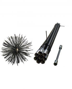Stokken schoorsteenveegset zwart 8 meter + nylon borstel